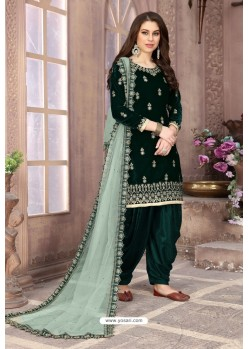 Dark Green Velvet Heavy Embroidered Salwar Suit