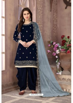 Navy Blue Velvet Heavy Embroidered Salwar Suit