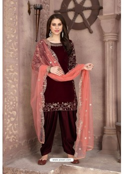 Maroon Velvet Heavy Embroidered Salwar Suit