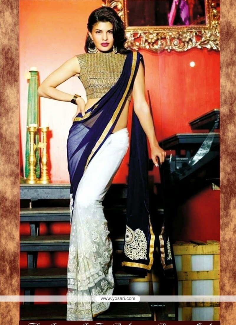 3d0067c03a Shop online Jacqueline Fernandez Blue and White Bollywood Saree