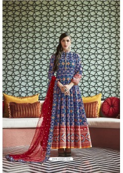 Navy Blue Heavy Pure Killer Silk Designer Anarkali Suit