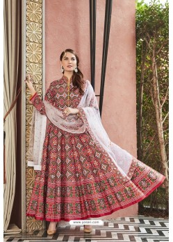 Red Heavy Pure Killer Silk Designer Anarkali Suit