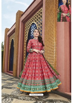 Crimson Heavy Pure Killer Silk Designer Anarkali Suit