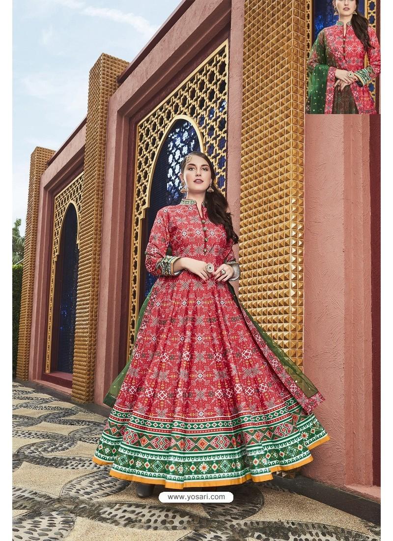 Crimson Heavy Pure Killer Silk Designer Anarkali Suit