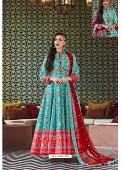 Sky Blue Heavy Pure Killer Silk Designer Anarkali Suit
