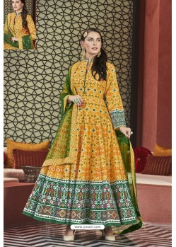 Yellow Heavy Pure Killer Silk Patola Printed Designer Anarkali Suit
