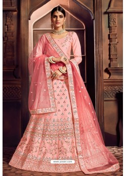 Baby Pink Silk Zari Embroidered Designer Lehenga Choli