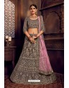 Grey Silk Zari Embroidered Designer Lehenga Choli