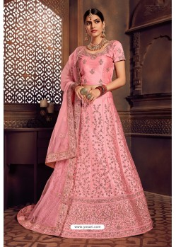 Pink Silk Zari Embroidered Designer Lehenga Choli