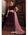Deep Wine Silk Zari Embroidered Designer Lehenga Choli