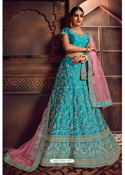 Firozi Silk Zari Embroidered Designer Lehenga Choli