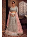 Light Grey Silk Zari Embroidered Designer Lehenga Choli