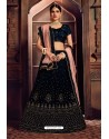 Navy Blue Silk Zari Embroidered Designer Lehenga Choli