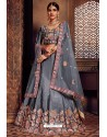 Awesome Grey Silk Zari Embroidered Designer Lehenga Choli
