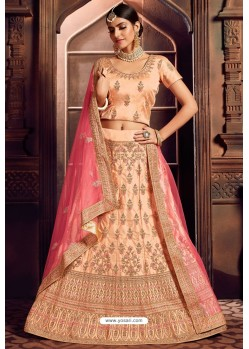 Peach Silk Zari Embroidered Designer Lehenga Choli