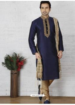 Navy Blue Silk Embroidered Kurta Pajama