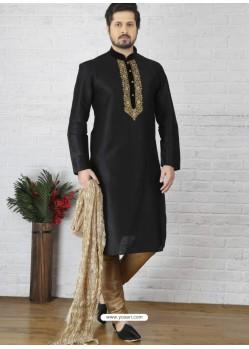 Black Silk Embroidered Kurta Pajama