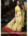 Light Yellow Printed Faux Georgette Anarkali Suits