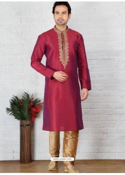 Amazing Red Silk Embroidered Kurta Pajama