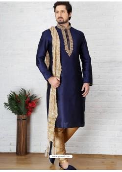 Latest Navy Blue Silk Embroidered Kurta Pajama