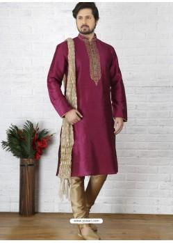 Rani Silk Embroidered Kurta Pajama