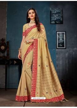 Light Beige Linen Cotton Banarasi Silk Designer Saree