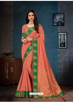 Peach Linen Cotton Banarasi Silk Designer Saree