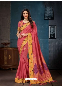 Light Red Linen Cotton Banarasi Silk Designer Saree