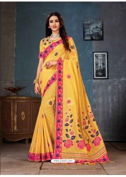 Yellow Linen Cotton Banarasi Silk Designer Saree