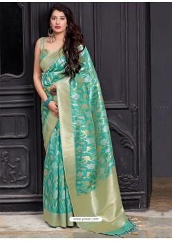 Jade Green Banarasi Sona Chandi Silk Designer Saree