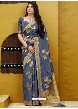 Grey Banarasi Sona Chandi Silk Designer Saree