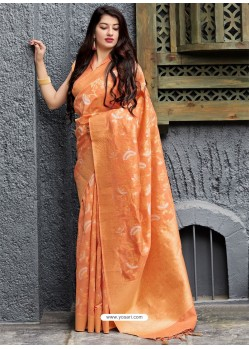 Orange Banarasi Sona Chandi Silk Designer Saree