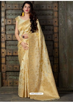 Light Beige Banarasi Sona Chandi Silk Designer Saree