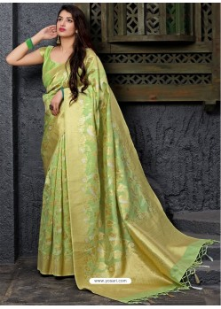 Green Banarasi Sona Chandi Silk Designer Saree