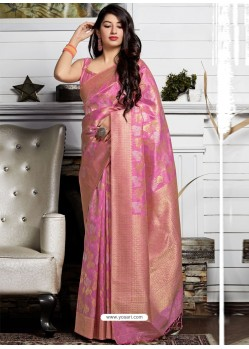 Hot Pink Banarasi Sona Chandi Silk Designer Saree
