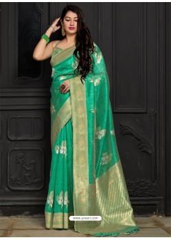 Aqua Mint Banarasi Sona Chandi Silk Designer Saree