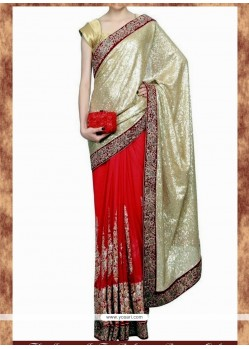 Voluptuous Net Red Embroidered Work Designer Saree