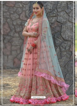 Peach Butterfly Net Stone Worked Designer Lehenga Choli