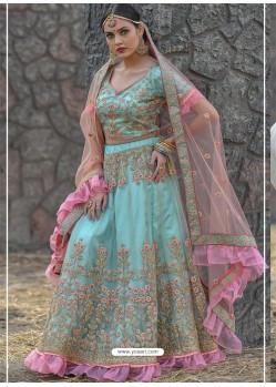 Aqua Blue Butterfly Net Stone Worked Designer Lehenga Choli