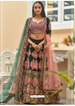 Dark Green Velvet Stone Worked Designer Lehenga Choli