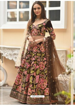 Coffee Velvet Stone Worked Designer Lehenga Choli