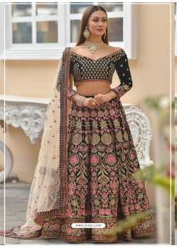 Navy Blue Velvet Stone Worked Designer Lehenga Choli