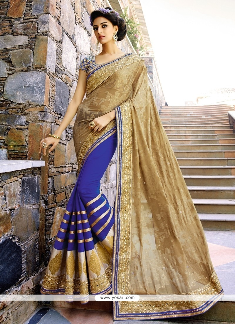 Mesmeric Zari Work Beige And Blue Brasso Half N Half Designer Saree
