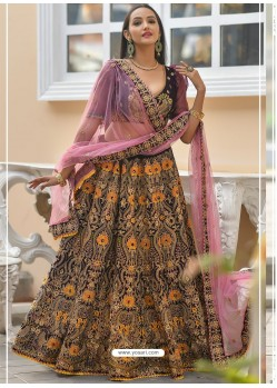 Wine Velvet Stone Worked Designer Lehenga Choli