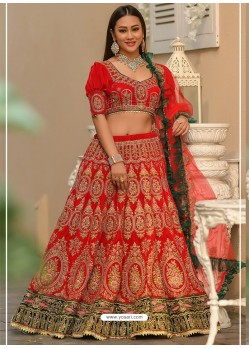 Red Velvet Stone Worked Designer Lehenga Choli
