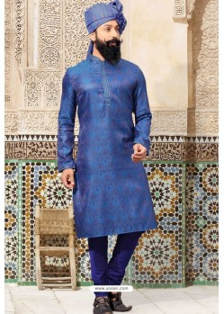 Royal Blue Jacquard Kurta Pajama