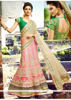 Appealing Cream And Hot Pink Net Lehenga Style Saree