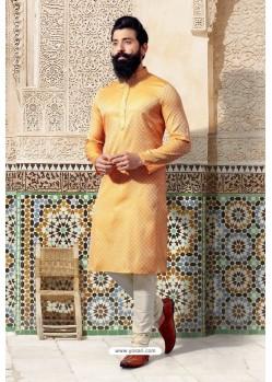 Yellow Jacquard Kurta Pajama