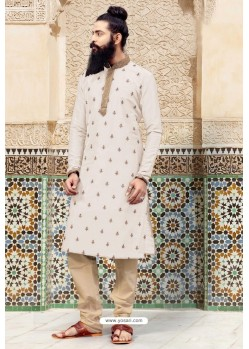 Off White Slub Silk Embroidered Kurta Pajama