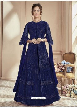 Navy Blue Mono Net Embroidered Anarkali Suit